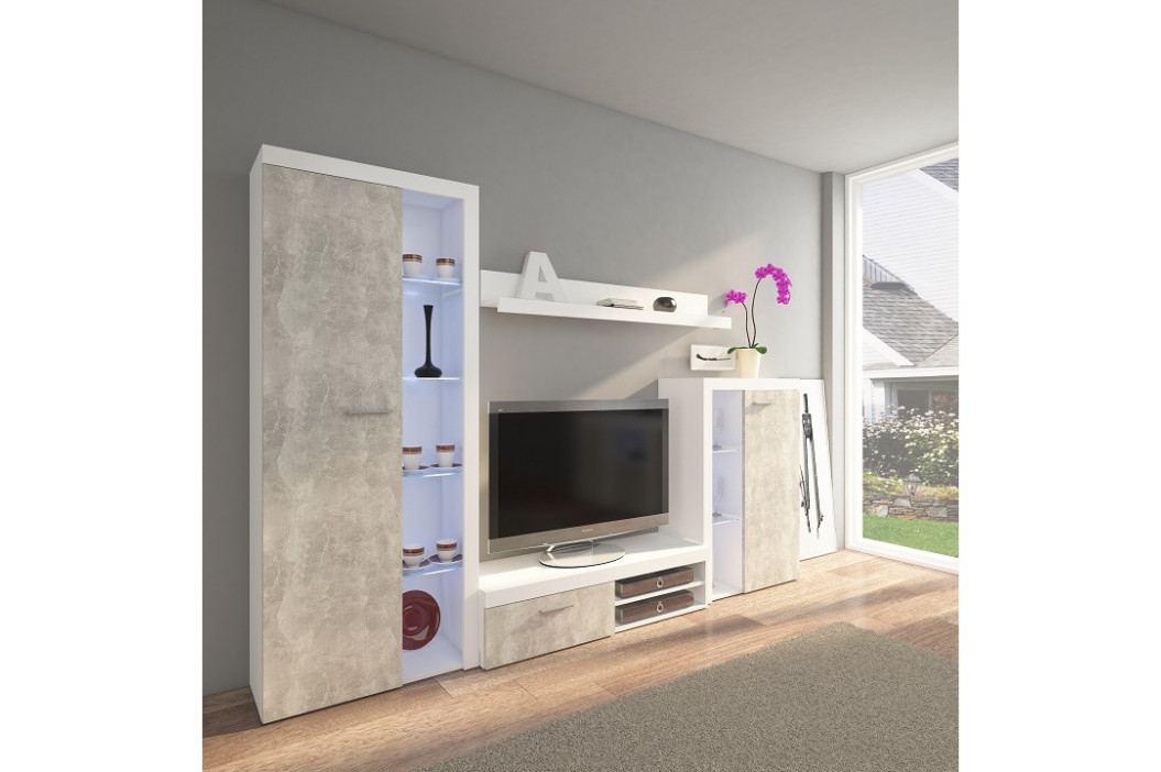 Tempo Kondela Obývací stěna ROCHESTER - beton světlý / bílá