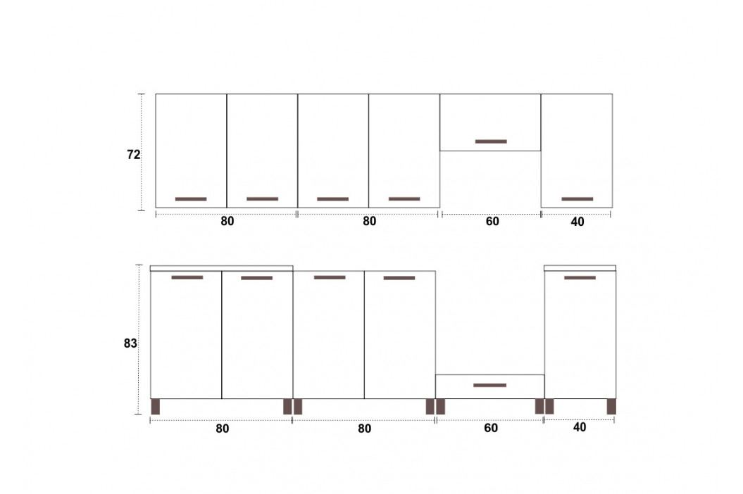 Falco Kuchyňská linka Parkour 260 - jasmín+fialový lesk/RLG