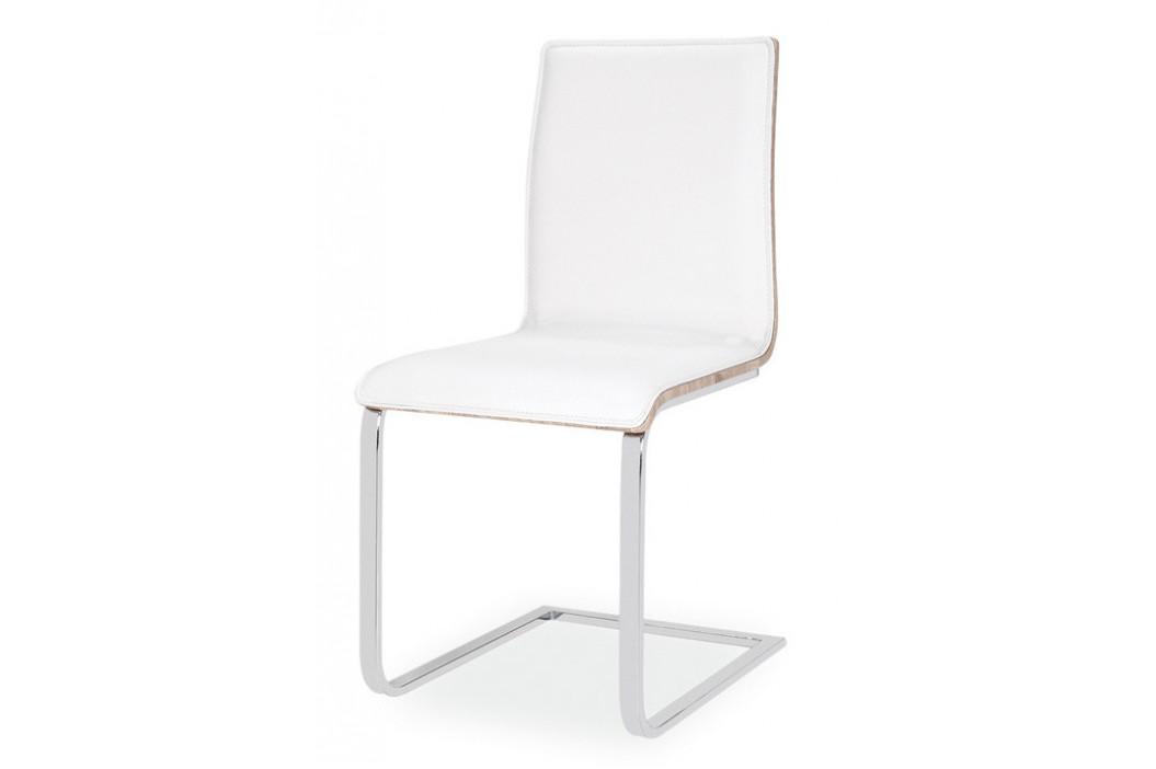 Casarredo Jídelní čalouněná židle H-690 bílá/dub sonoma