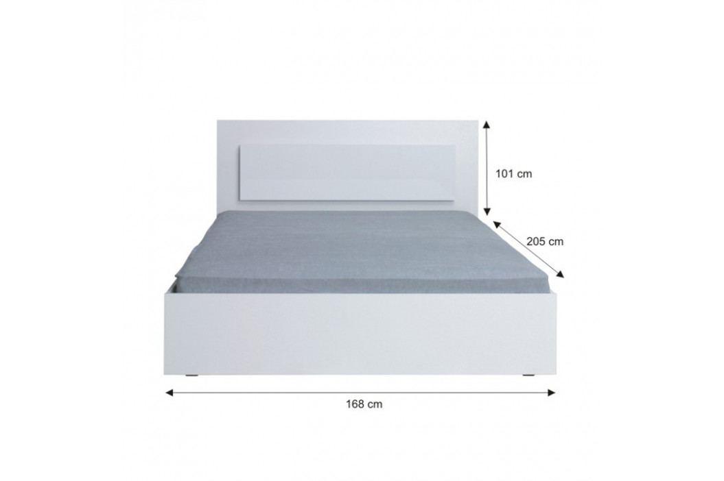 Tempo Kondela Ložnicový komplet ASIENA (skříň+postel 160x200+2 x noční stolek) - bílá / vysoký bílý lesk HG