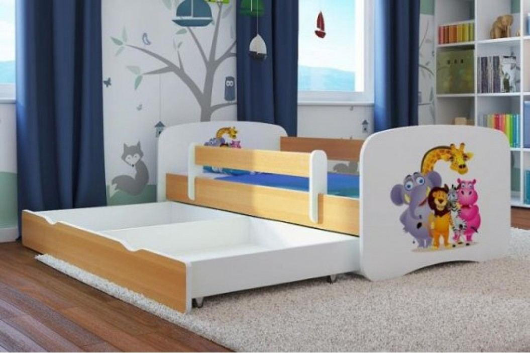 Forclaire Dětská postel se zábranou Ourbaby - ZOO III postel 180 x 80 cm s úložným prostorem + kupón KONDELA10 na okamžitou slevu 10% (kupón uplatníte v košíku)