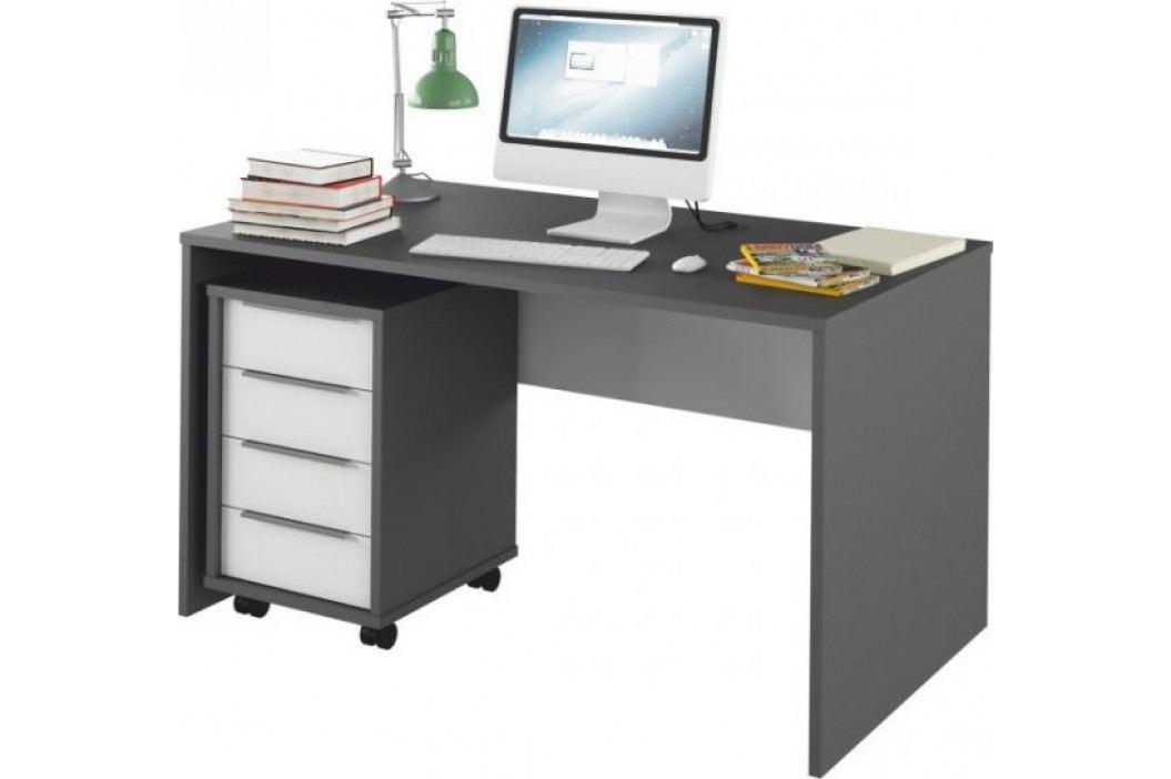 Tempo Kondela PC stůl Rioma TYP 11 - grafit / bílá