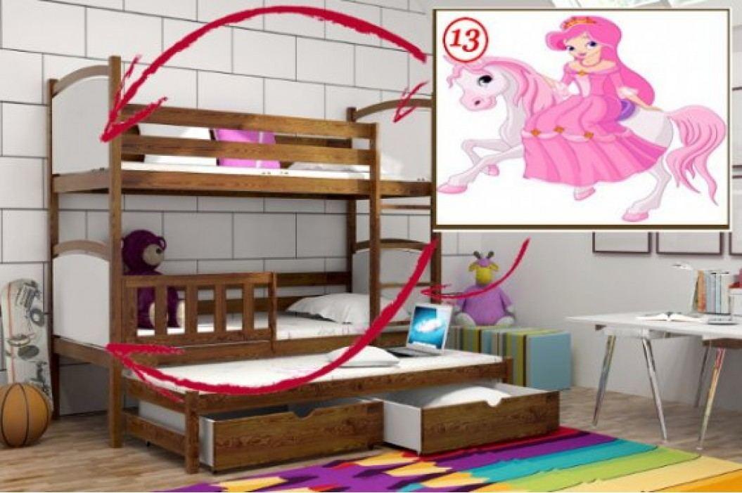 Vomaks Patrová postel s výsuvnou přistýlkou PPV 005 - 13 Princezna na koni KOMPLET 200 cm x 90 cm Barva bílá + kupón KONDELA10 na okamžitou slevu 10% (kupón uplatníte v košíku)