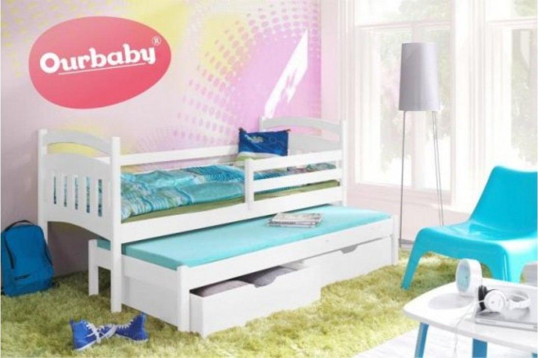 Forclaire Dětská postel Ourbaby s přistýlkou Marco I - Bílá 200x90 + kupón KONDELA10 na okamžitou slevu 10% (kupón uplatníte v košíku)