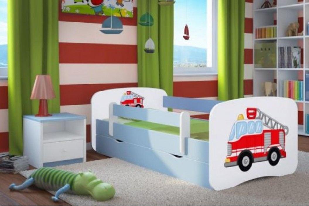 Forclaire Dětská postel se zábranou Ourbaby - Hasičské auto - modrá postel 180 x 80 cm s úložným prostorem + kupón KONDELA10 na okamžitou slevu 10% (kupón uplatníte v košíku)
