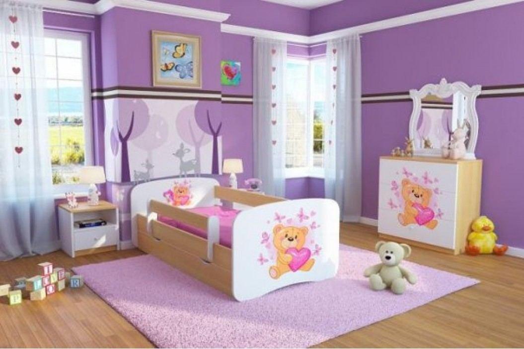 Forclaire Dětská postel se zábranou Ourbaby - Medvídek - buk postel 180 x 80 cm s úložným prostorem + kupón KONDELA10 na okamžitou slevu 10% (kupón uplatníte v košíku)
