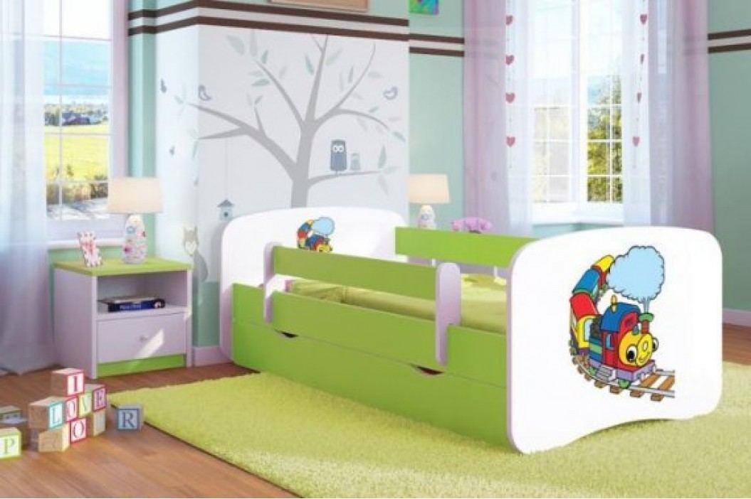 Forclaire Dětská postel se zábranou Ourbaby - Veselý vláček postel 180 x 80 cm s úložným prostorem + kupón KONDELA10 na okamžitou slevu 10% (kupón uplatníte v košíku)