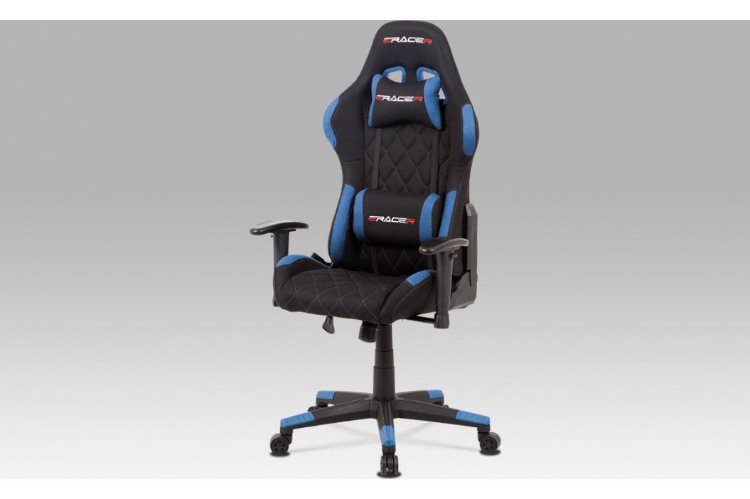 Autronic Kancelářská židle, modrá látka, houpací mech, kříž plast AUKA-V606 BLUE