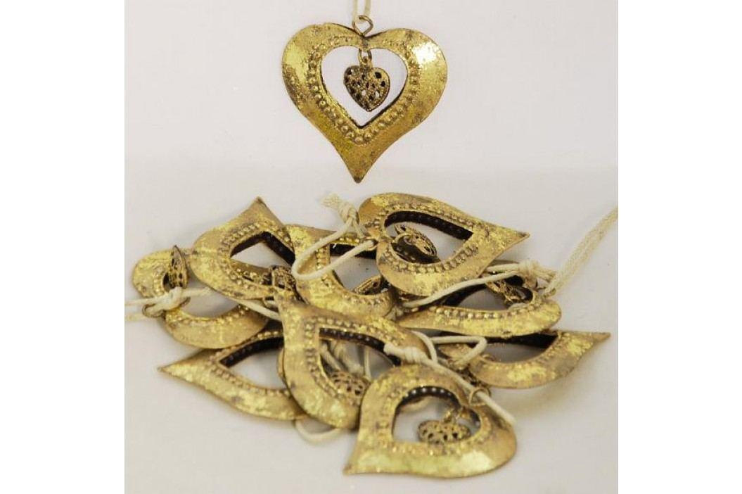 Zlatá kovová srdce na zavěšení sada 6 kusů