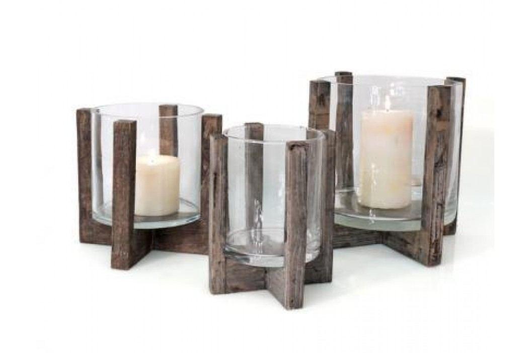 Svícen dřevo sklo 23x25cm