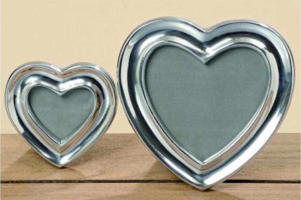Fotorámeček srdce stříbrný hliník set 2ks