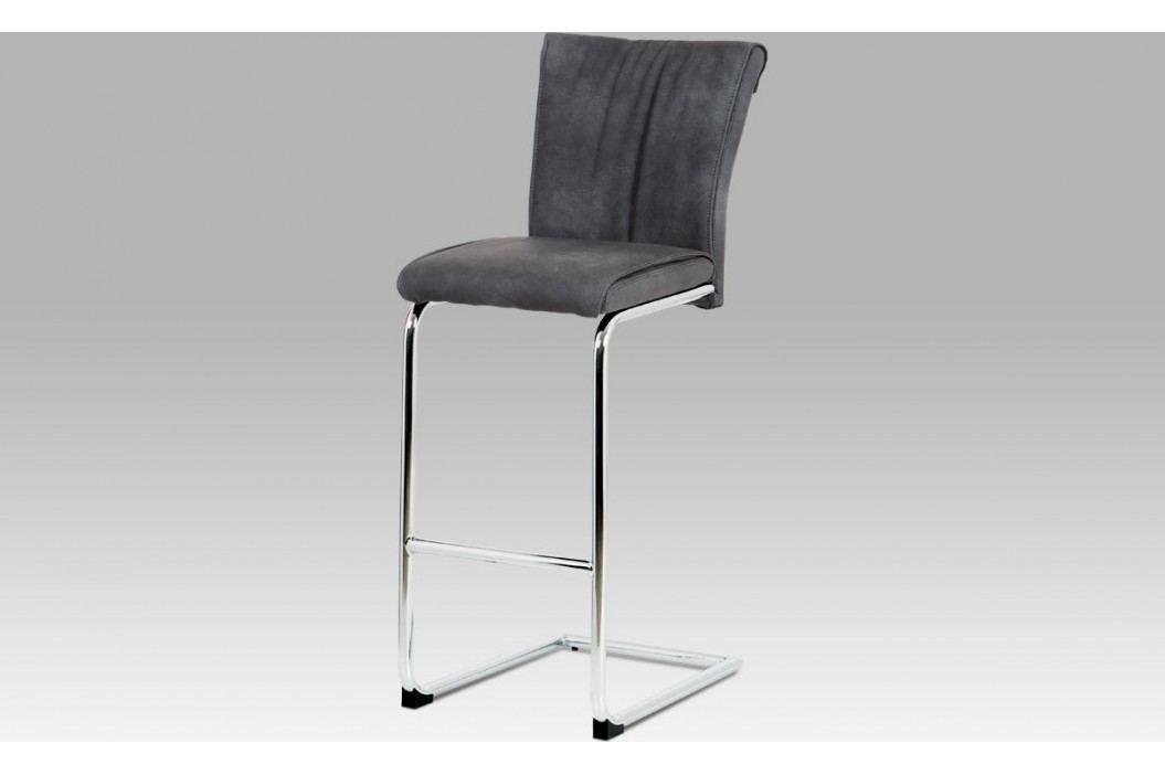 Autronic Barová židle šedá koženka / chrom AUBAC-192 GREY