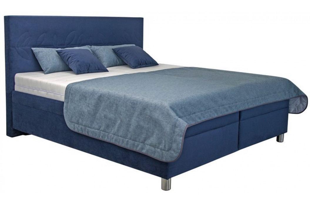 Komfortní manželská postel navy 180x200 cm, modrá látka s úložným prostorem