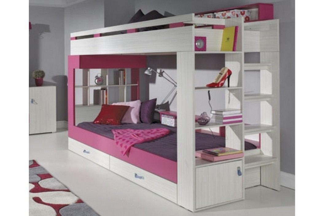 Dětská růžová dětská patrová postel KOMI KM14 90x200 jasanová