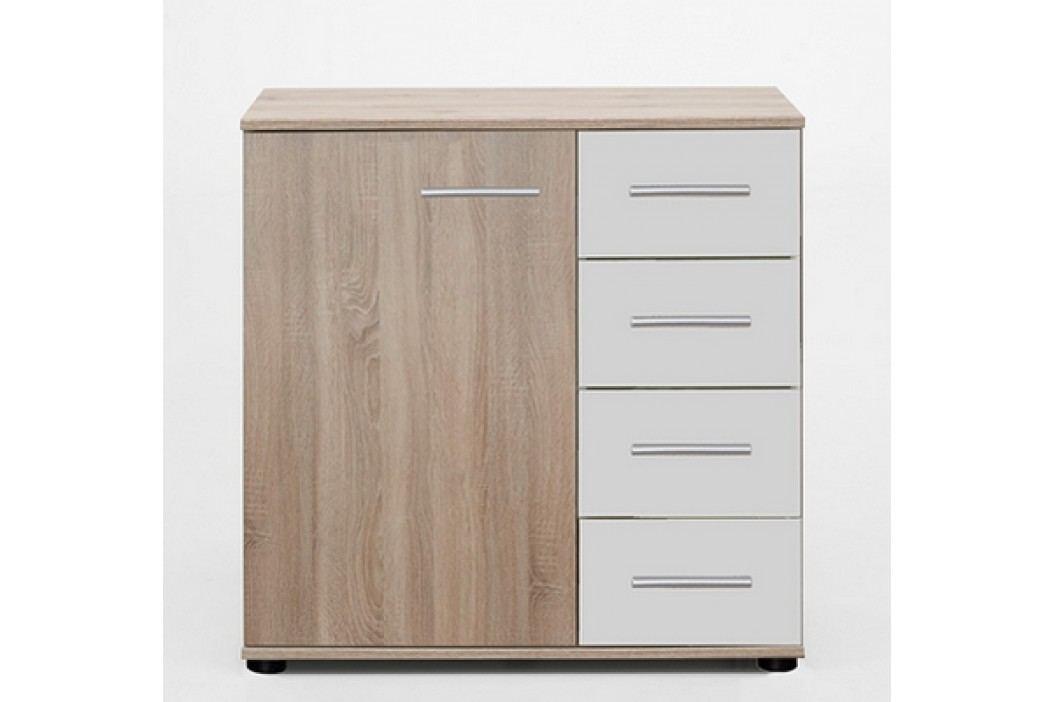 Moderní bílá komoda FRANZISKA 785-710 dekor dub