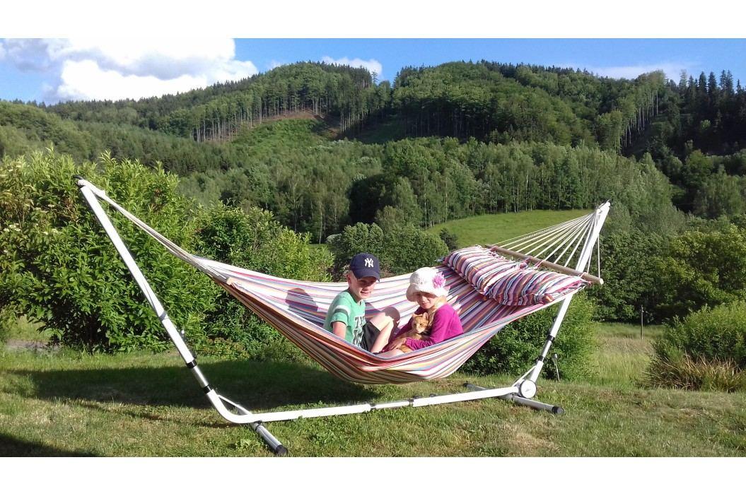 Pestrobarevná houpací síť se stojanem - 240 x 160 cm