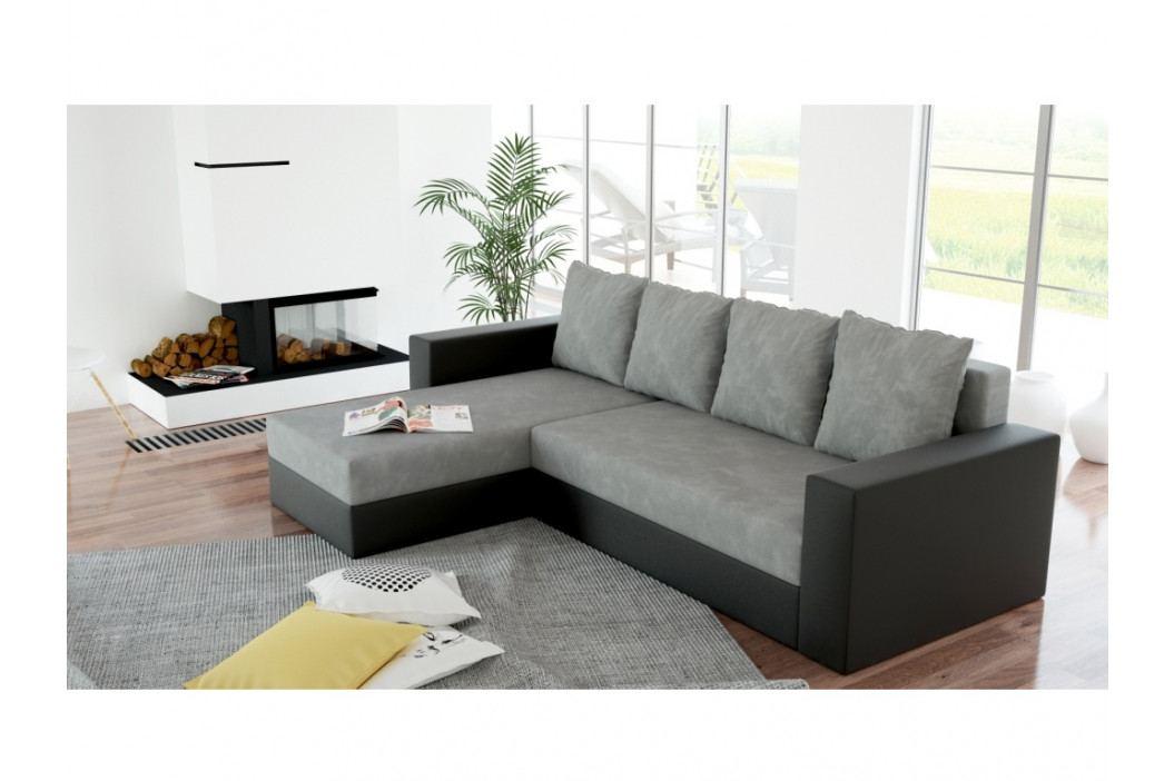 Rohová sedačka ERON NEW, univerzální, šedá látka/černá ekokůže