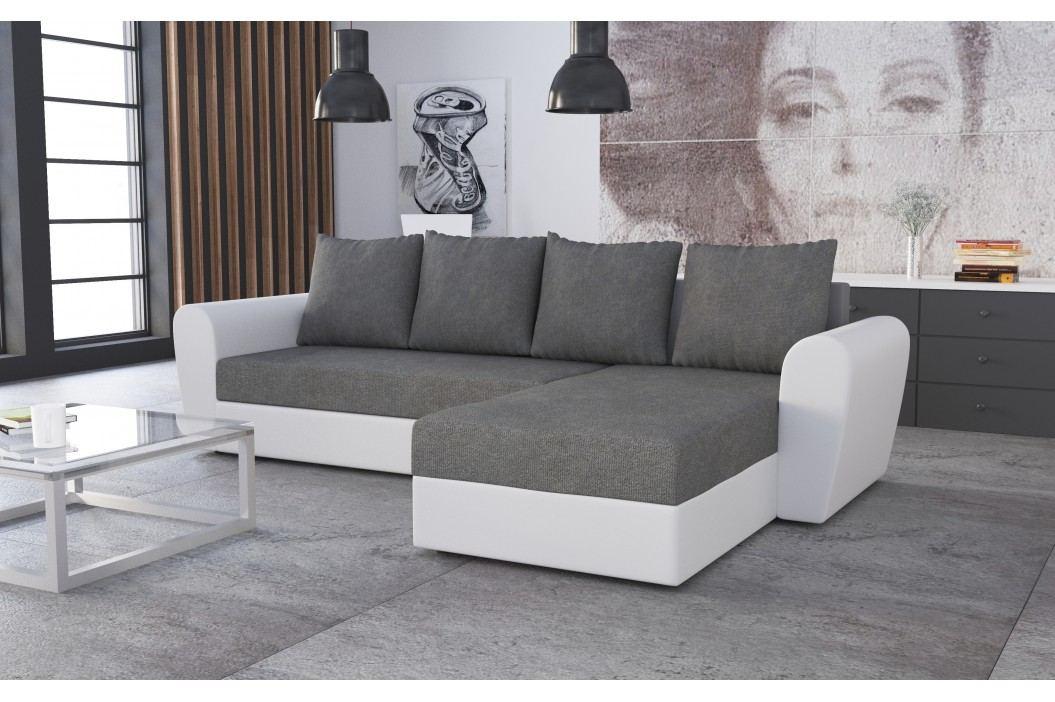 Rohová sedačka FORD 1, šedá látka/bílá ekokůže