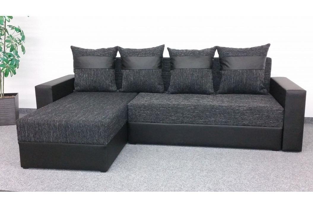 Rohová sedačka VERA, univerzální provedení, černá látka/černá ekokůže