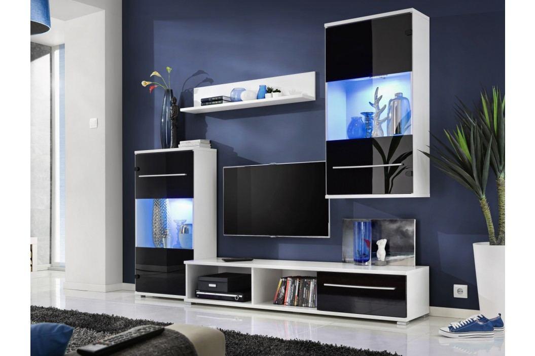 Smartshop LIIPI, obývací stěna, bílá/černý lesk
