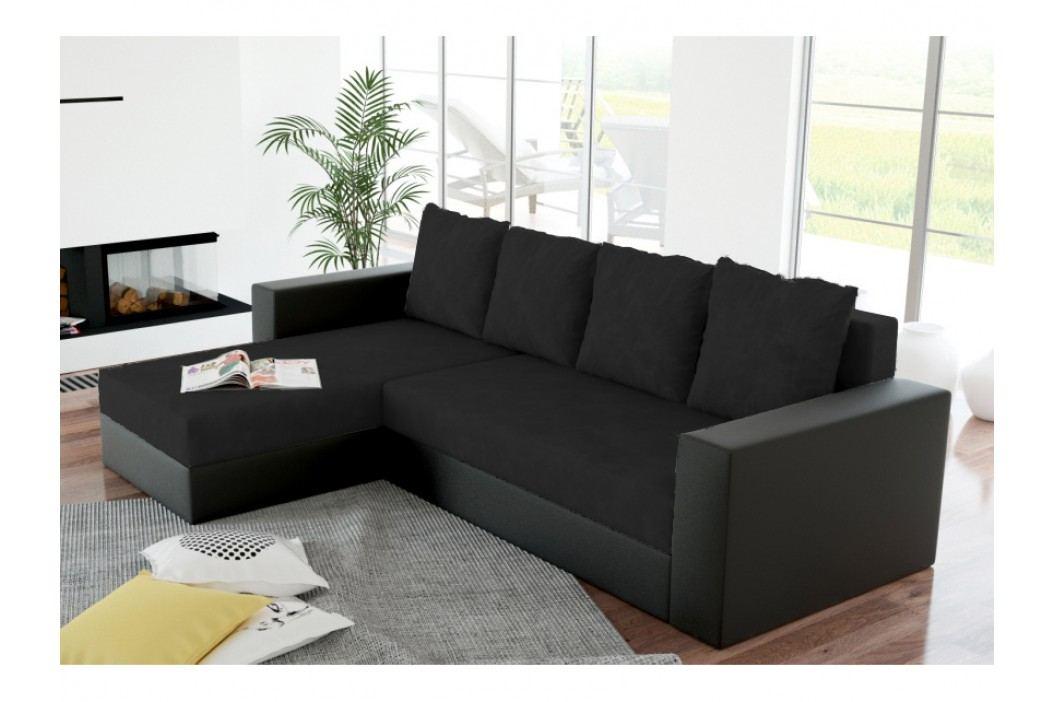 Rohová sedačka ERON 1, univerzální, černá/černá ekokůže