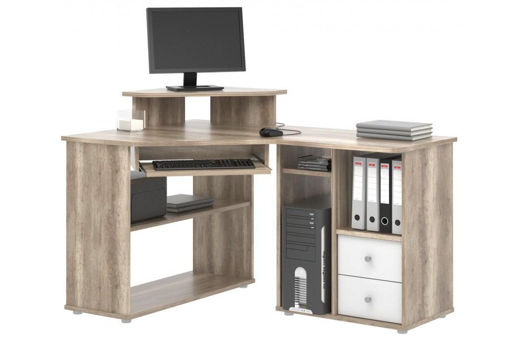 MB Domus Rohový PC stůl THEODOR, canyon oak/bílá