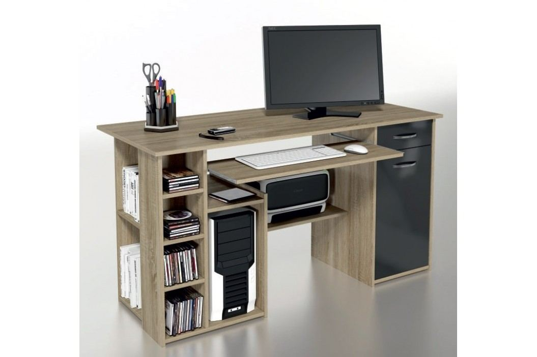 Multifunkční PC stůl MICRO M15, dub sonoma/černá