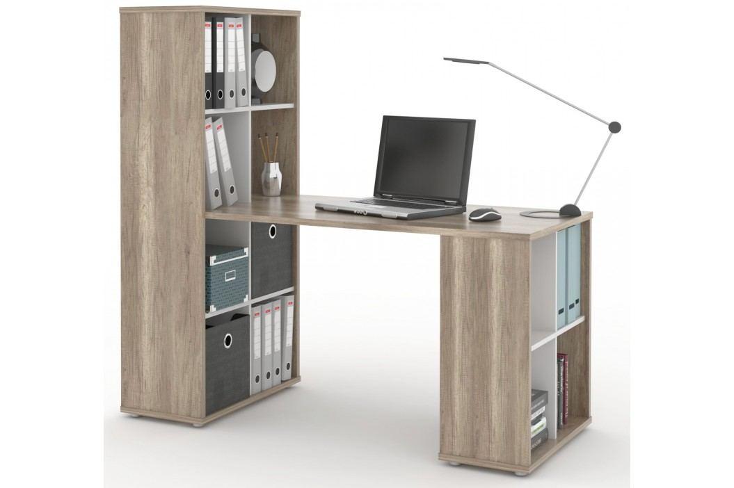 MB Domus Psací stůl s knihovnou NU QUATTRO, canyon oak/bílá