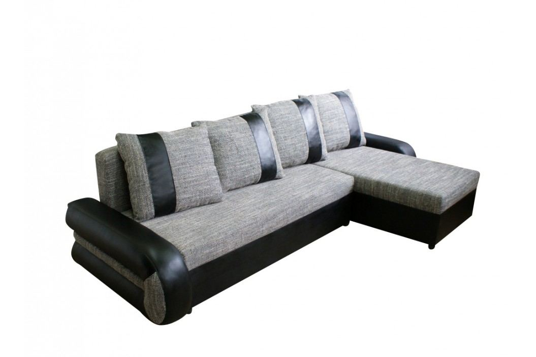 Rohová sedačka TICO II, univerzální roh,látka šedá/černá ekokůže