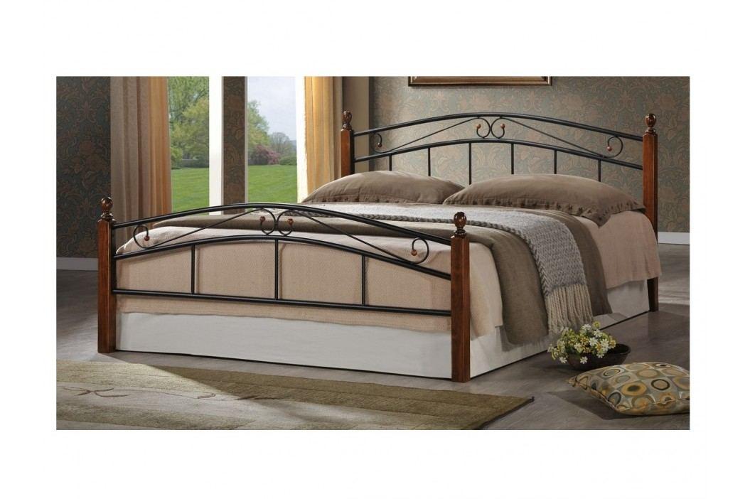 CRETA, postel 180x200 cm s roštem, masiv/kov, třešeň antická