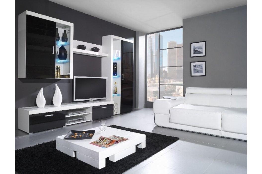 SAMBA B, obývací stěna, bílá/černý lesk