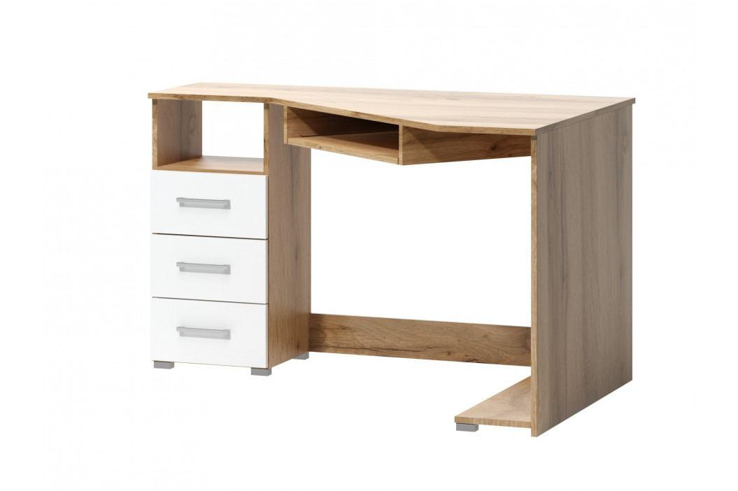 PC stůl ARTA 17, dub wotan/bílý mat