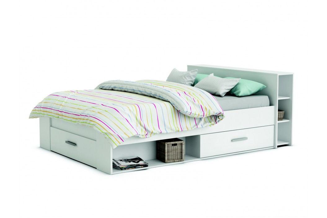 POKET, postel 140x200 cm, bílá