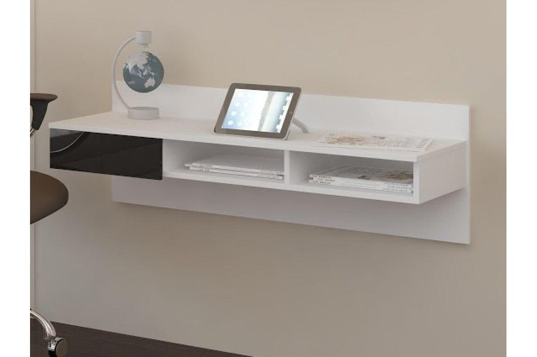 MORAVIA FLAT Designový psací stůl UNO, bílá/černý lesk
