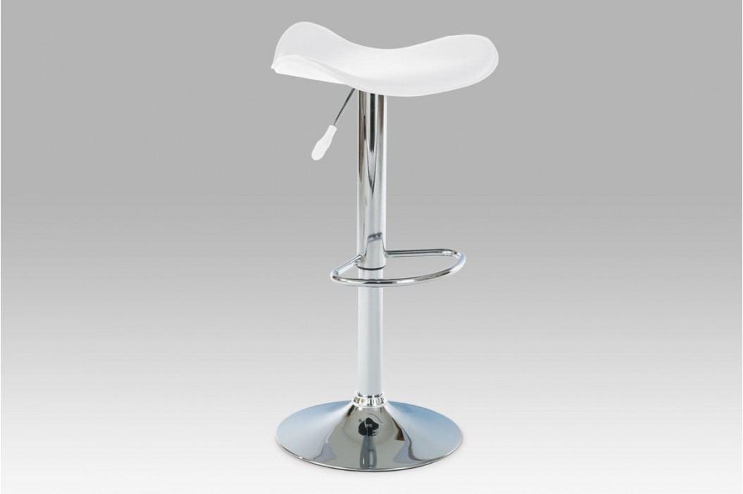 Barová židle, chrom/koženka bílá AUB-300 WT