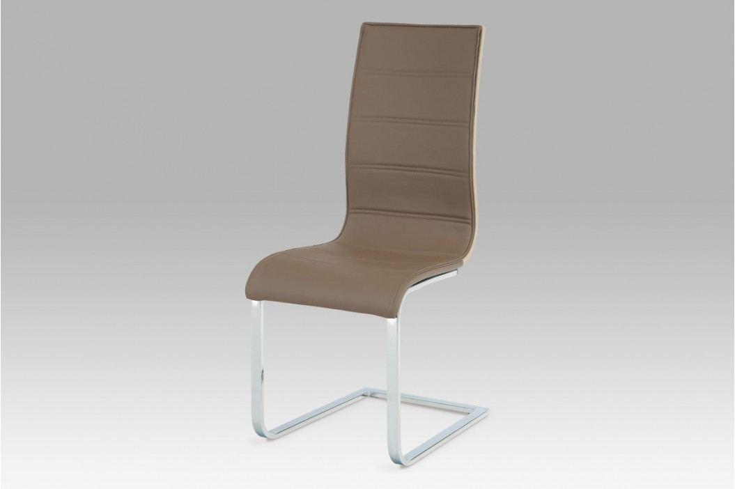 Jídelní židle WE-5022 COF, koženka coffee / sonoma / chrom