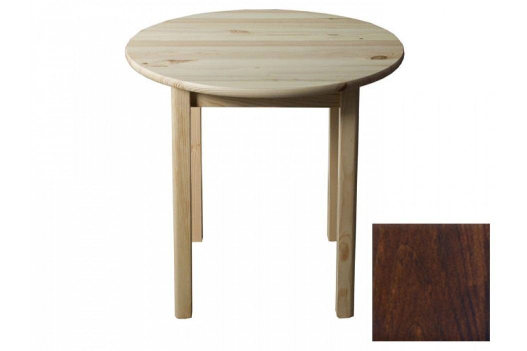 Stůl  průměr 60 cm nr.3, masiv borovice/moření ořech