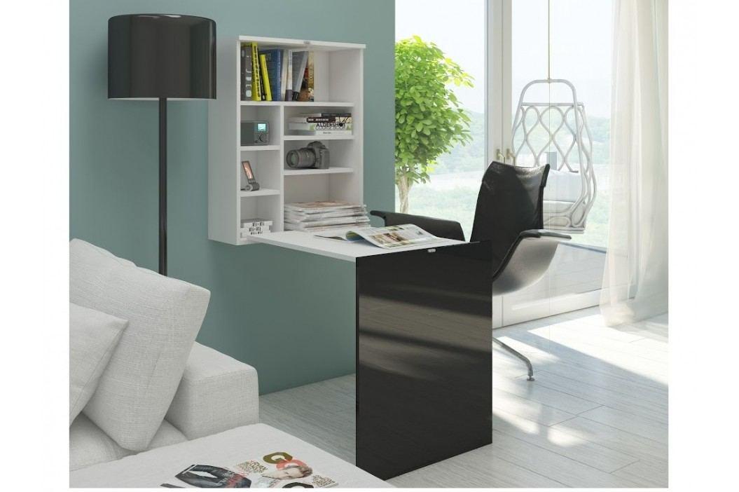 Psací stůl HIDE, bílá/černý lesk