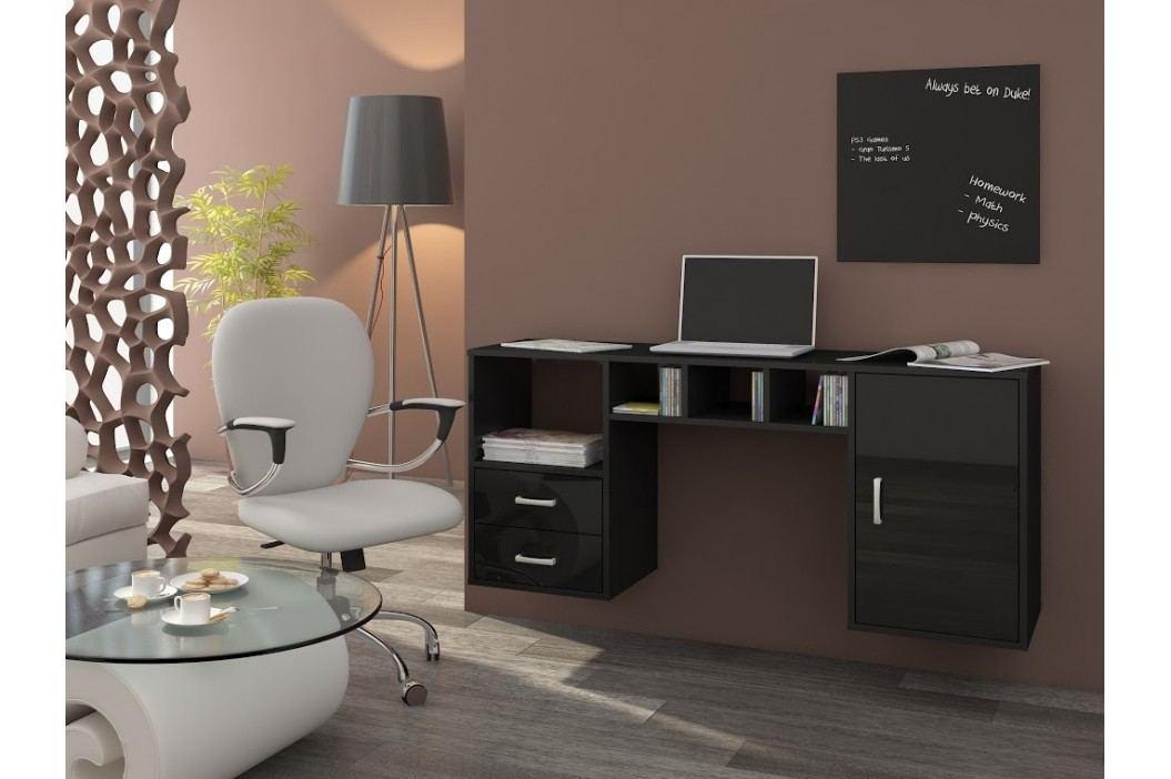 MORAVIA FLAT Psací stůl HANGER, černá/černý lesk