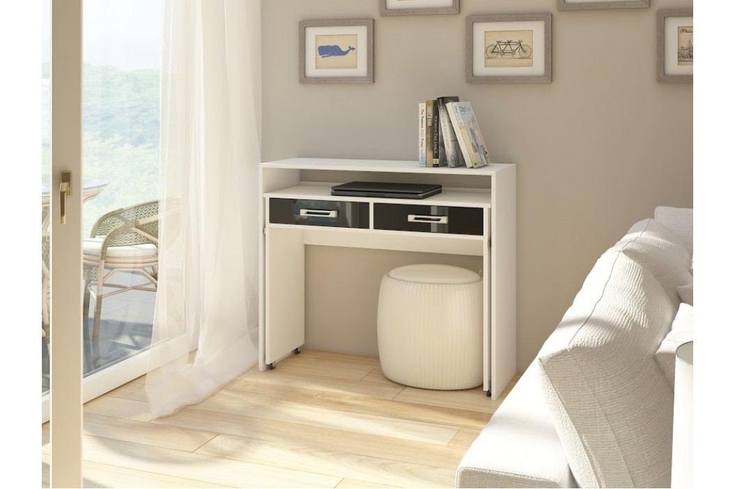 MORAVIA FLAT Psací stůl ZOOM, bílá/černý lesk