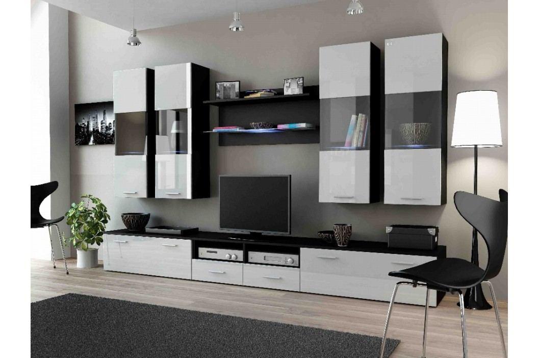 DREAM I, obývací stěna, černá/bílý lesk