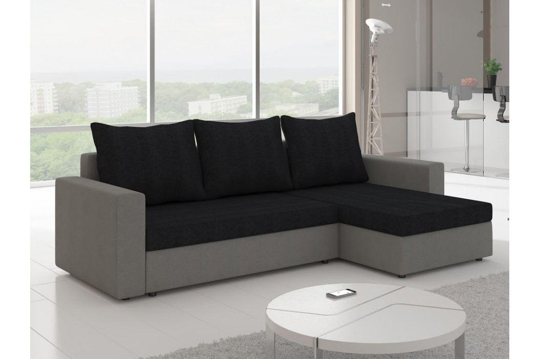 Rohová sedačka LIVIO 7, černá látka/šedá látka