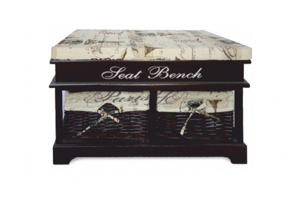 SEAT BENCH 3 NEW lavice s polštářem, béžová/tmavě hnědá