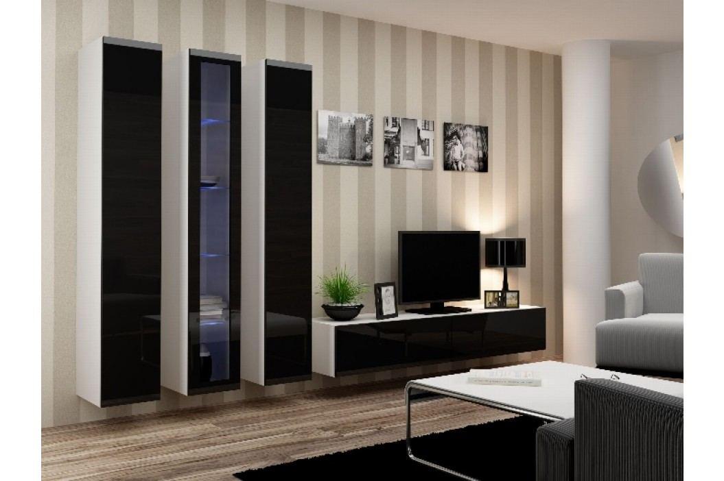 Obývací stěna VIGO 2 B, bílá/černý lesk