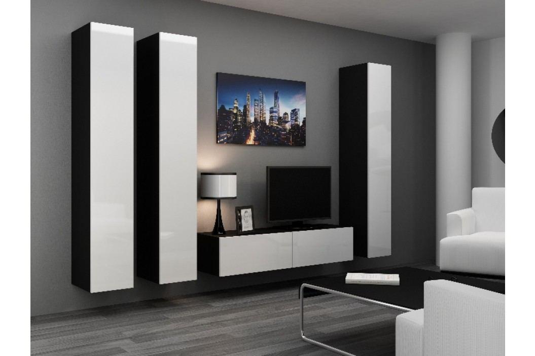 Obývací stěna VIGO 14, černá/bílý lesk