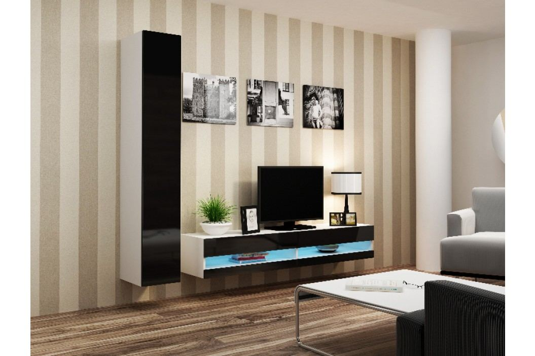 CAMA *Obývací stěna VIGO NEW 9, bílá/černý lesk
