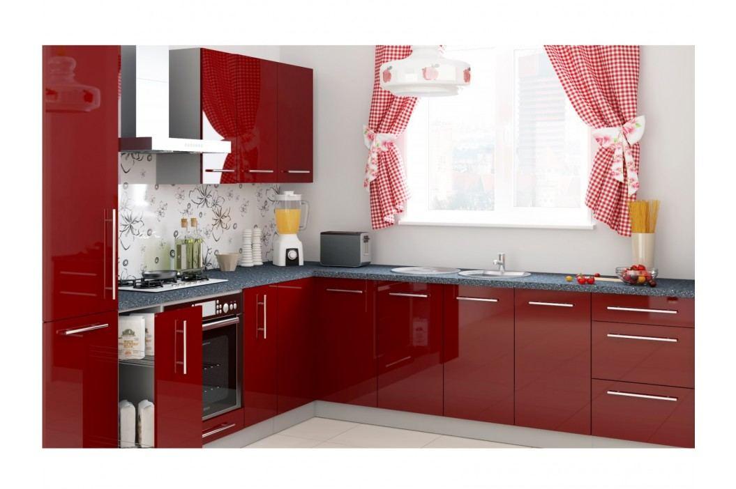 Rohová kuchyně PLATINUM 130/400 cm, korpus grey, dvířka deep red