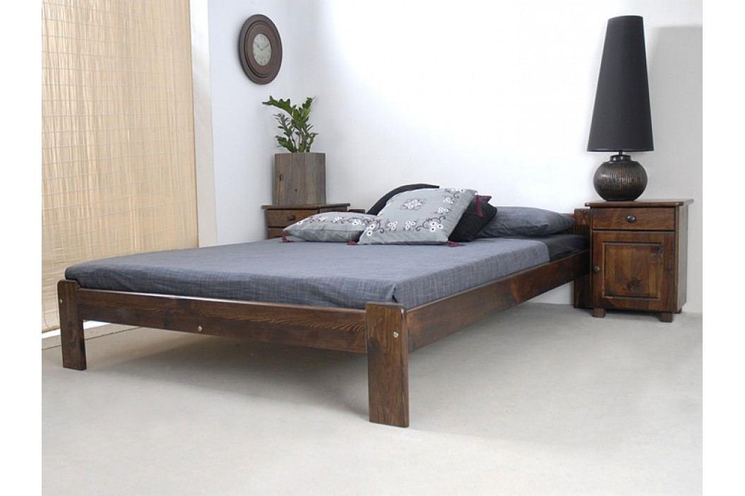 Postel CELINKA 160x200 cm s roštem, masiv borovice/moření ořech