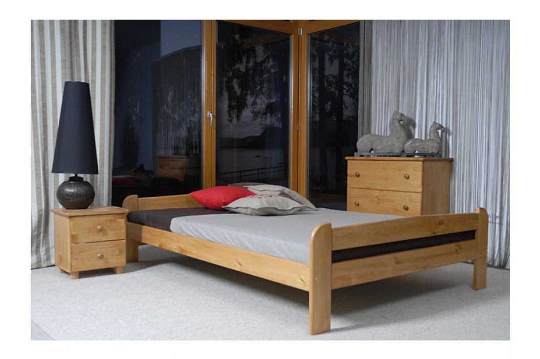 Postel ANIA 160x200 cm s roštem, masiv borovice/moření olše