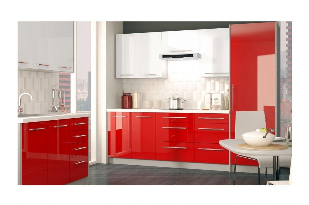 Rohová kuchyně PLATINUM 370 cm, korpus grey, dvířka white + rose red